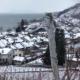Aussicht auf Twann und den Bielersee im Winter mit Schnee